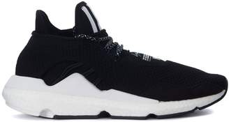 Y-3 Saikou Technical Fabric And Black And White Suede Sneaker
