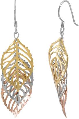 Silver Classics Tri Tone Sterling Silver Openwork Leaf Drop Earrings