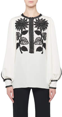 Andrew Gn Sunflower-Embroidered Silk Peasant Blouse