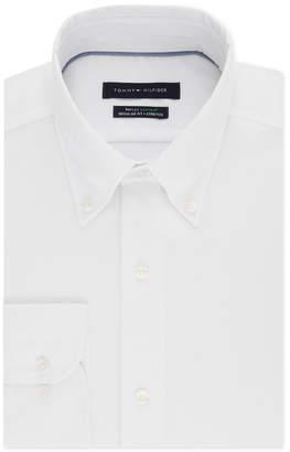 Van Heusen Tommy Hilfiger Men's Classic/Regular Fit Th Flex Non-Iron Supima Stretch Solid Dress Shirt