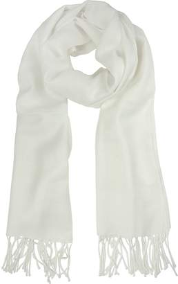 Mila Schon White Wool and Cashmere Stole