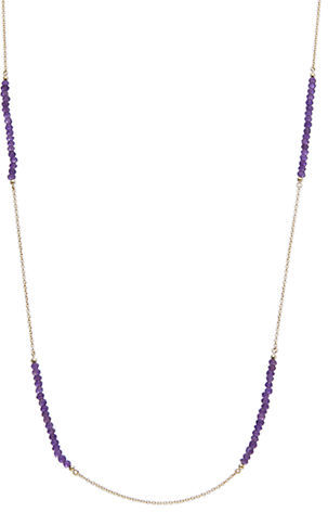 Lord & Taylor 18Kt Gold and Purple Chalcedony Bead Layering Necklace