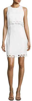 Shoshanna Sleeveless Scalloped Popover Sheath Dress
