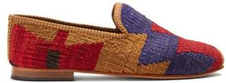Artemis Design Shoes - Zigzag Patterned Woven Kilim And Leather Loafers - Mens - Multi