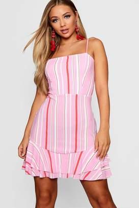 boohoo Tie Back Ruffle Hem Striped Tea Dress