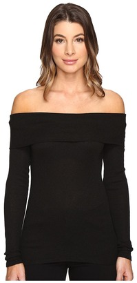 Michael Stars - 2X1 Shine Long Sleeve Off-Shoulder Top Women's Long Sleeve Pullover $68 thestylecure.com