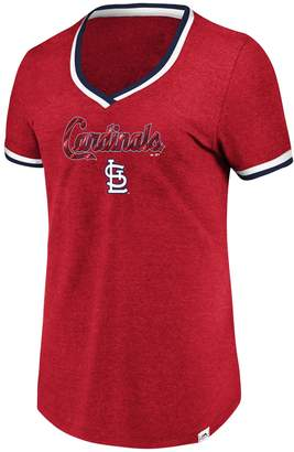 Majestic Women's Cleveland Indians Stripe Trim Tee