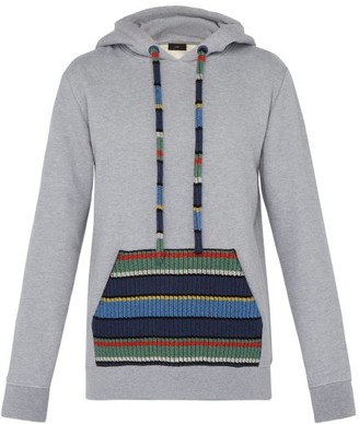 Alanui Stripe Pocket Cotton Blend Hooded Sweatshirt - Mens - Grey Multi