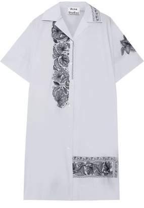 Acne Studios Jusso Pop Embroidered Cotton-poplin Mini Shirt Dress