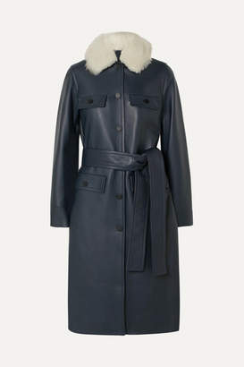 Yves Salomon Belted Shearling-trimmed Leather Coat - Navy