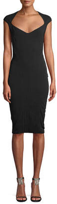 Thierry Mugler Wide-Neck Cap-Sleeve Fitted Stretch-Twill Dress
