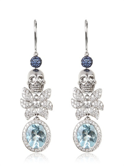 Jade Jagger Skull Aqua Earrings