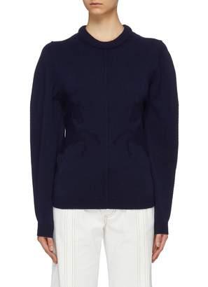 Chloé Puff sleeve horse intarsia cashmere sweater
