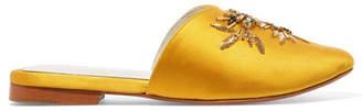ZYNE - Swary Ii Embellished Satin Slippers - Yellow