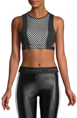 Koral Activewear Dayside Evanesce Mesh-Paneled Performance Crop Top