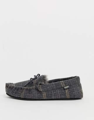totes check moccasin slipper in grey