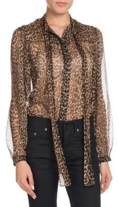 Saint Laurent Long-Sleeve Button-Down Leopard-Print Sheer Silk Blouse with Neckties
