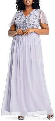 Adrianna Papell Plus Embellished Flutter Sleeve Gown