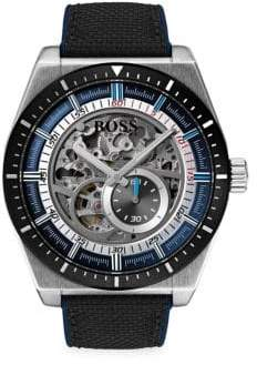 HUGO BOSS Signature Timepiece Skeleton Stainless Steel, Black Leather& Nylon Chronograph Bracelet Watch
