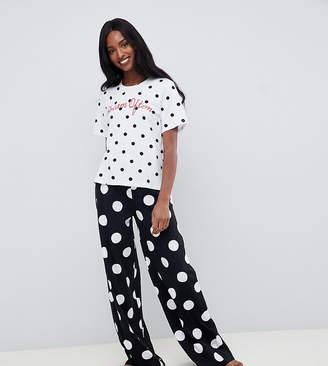 f304409184 Asos Tall DESIGN Tall dream often polka dot wide leg pyjama set