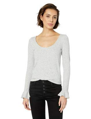Cupcakes And Cashmere Women's Rosemary Speckle Knit with Ruffle Cuff