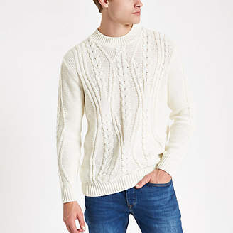 River Island Ecru chunky cable knit crew neck sweater