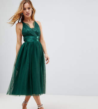 Asos PREMIUM Lace Top Tulle Midi Prom Dress with Ribbon Ties
