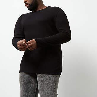 River Island Big and Tall black long sleeve T-shirt