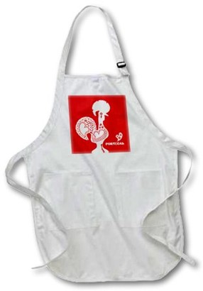 3dRose Red and white Portuguese Rooster, Full Length Apron, 22 by 30-inch, White, With Pockets
