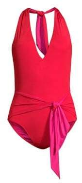 Stella McCartney Twist Tie Front One-Piece Swimsuit
