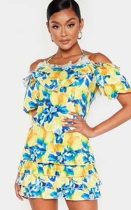 PrettyLittleThing White Lemon Print Ruffle Puff Sleeve Shift Dress