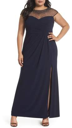 Xscape Evenings Beaded Faux Wrap Gown
