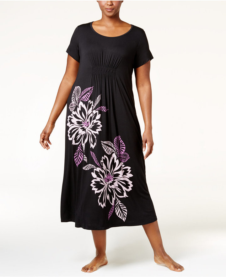 AlfaniAlfani Plus Size Floral-Print Nightgown, Only at Macy's