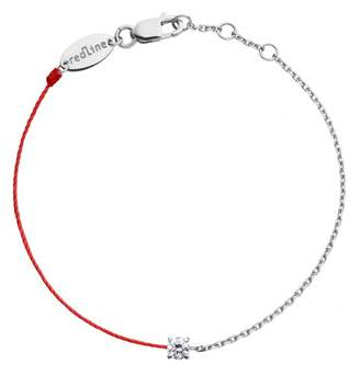 Redline Double Diamond Red Solitaire Bracelet - White Gold