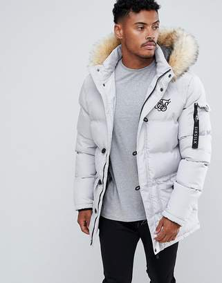 SikSilk parka jacket with faux fur hood in gray