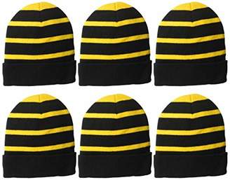 Clementine Apparel Men's CLM-SM-STC31-Striped Beanie with Solid Band (6 PK),OSFA