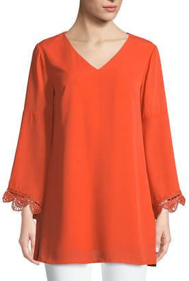 Neiman Marcus Bell-Sleeve Lace-Cuff V-Neck Tunic