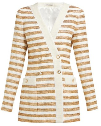 Alessandra Rich Striped Double Breasted Tweed Jacket - Womens - White Gold