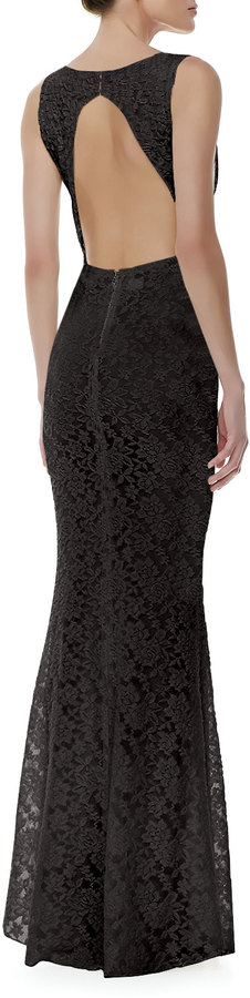 Alice + Olivia Sachi Fitted Lace Gown, Black
