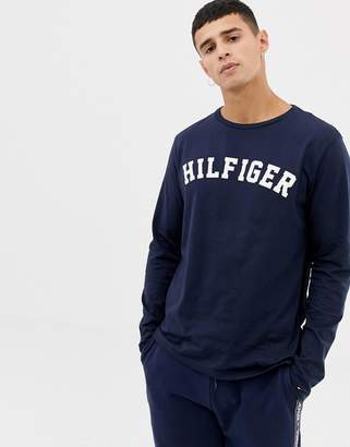 Tommy Hilfiger long sleeve top with large chest logo in navy