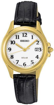 Seiko Womens Black Calfskin White Dial Bracelet Watch SUT254 $215 thestylecure.com