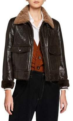 Brunello Cucinelli Buffed Leather Aviator Jacket