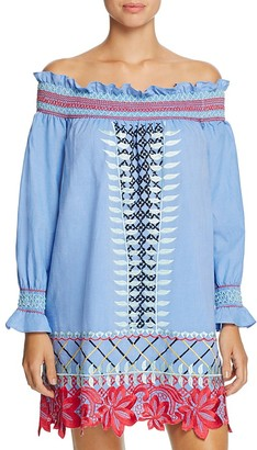 Red Carter Monroe Embroidered Chambray Off-the-Shoulder Dress Swim Cover-Up $280 thestylecure.com