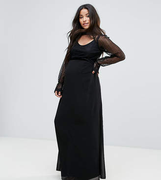 TFNC Maternity High Neck Long Sleeve Lace Maxi With Velvet Trims