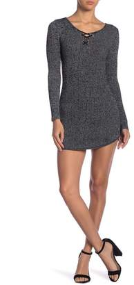 Planet Gold Marled Ribbed Knit Sweater Dress
