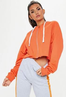 Missguided Orange Zip Thru Cropped Raw Hem Hoodie