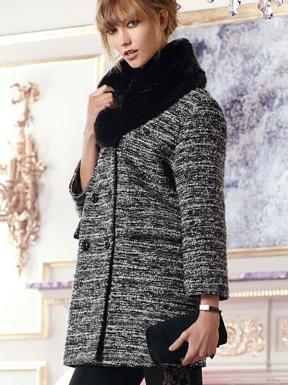 Victoria's Secret Faux-fur Trim Coat