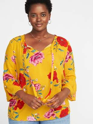 72eacce28ecde at Old Navy · Old Navy Tie-Neck Plus-Size Bell-Sleeve Blouse