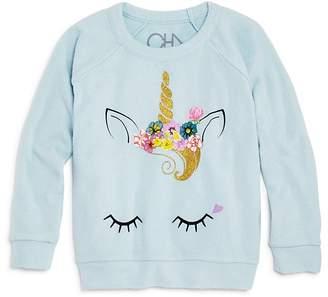 Chaser Girls' Raglan Unicorn Sweatshirt - Little Kid, Big Kid