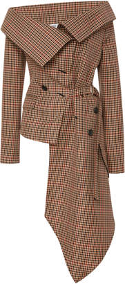 Monse Checked Off-The-Shoulder Wool-Blend Jacket